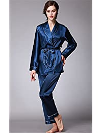 Hollwald Pyjama en soie Vêtement de nuit Chemise de nuit en soie Lisse Moderne Simple Décontracté Luxe Couleur pure