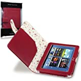 Samsung Galaxy Note 10.1 Red PU Leather Folio Case / Cover / Pouch / Holster with Floral Interior