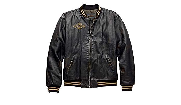 Harley Davidson Leander Men S Leather Bomber Jacket Slim Fit Xl Auto