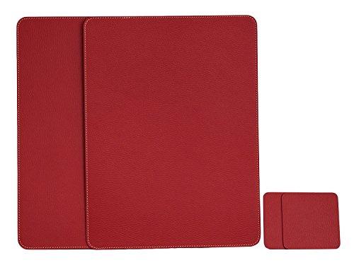Nikalaz Rot Platzsets und Untersetzer aus Recyceltem Leder Tisch-Sets, 2 Stück Tischsets, Platzdeckchen 40x30 cm und Untersetzer 10x10 cm, (Rot) (Leder-set Rote)