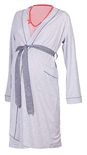 Happy Mama Maternity Gown Robe Nightie for Labour & Birth. SOLD SEPARATELY 393p (Robe - Light Grey, UK 16/18, 2XL)