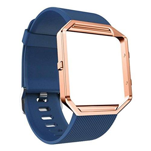 n Uhrenarmband Armband und Metallrahmen und HD Film Compatible für Fitbit Blaze Uhr (Dark Blue) ()