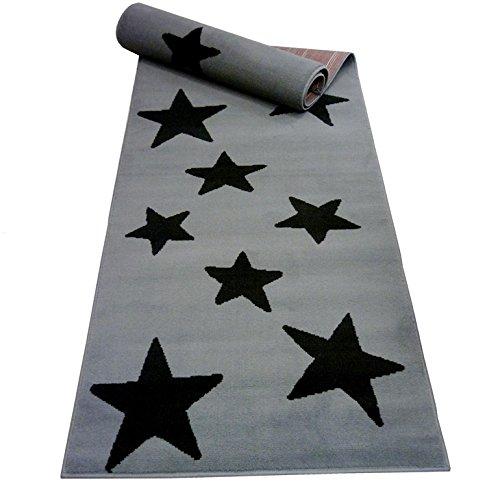 Moderner Läufer Teppich Brücke Teppichläufer STERNE (80 x 100 cm, grau schwarz)