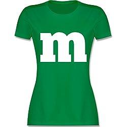 Karneval & Fasching - Gruppen-Kostüm m Aufdruck - M - Grün - L191 - Damen T-Shirt Rundhals