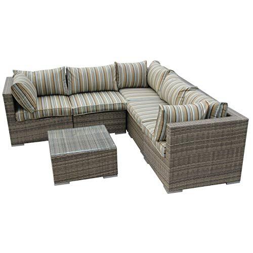 Nwn Canapé d'angle carré extérieur simple de sofa de coin de salon réglé le brun/naturel (Couleur : B)