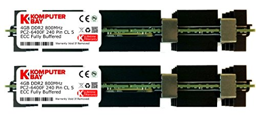 Komputerbay 8GB (2X4GB) DDR2 PC2-6400F 800MHz ECC Fully Buffered FB-DIMM (240 PIN) 8 GB w / Heatspreader für Apple-Computer