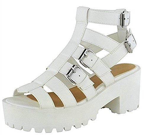 Sandales plate-forme à lanières style spartiates Blanc - WHITE FAUX LEATHER GOTHIC CHUNKY PUNK BUCKLES