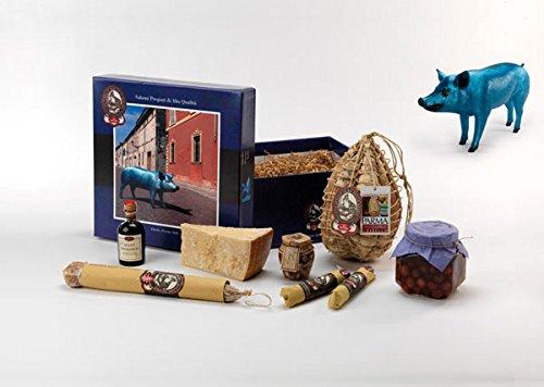 YesEatIs - Geschenkkorb ZIBELLO mit 1 CULATELLO Ganze Stück 4,2 Kg, 1 PARMIGIANO REGGIANO Käse 1,2...