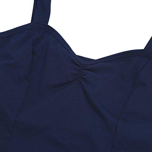Freebily angenehmer Damen Body Ballettanzug Ballett Trikot Bodysuit Tanz-Body mit breiten Trägern Lingerie Dessous Marineblau