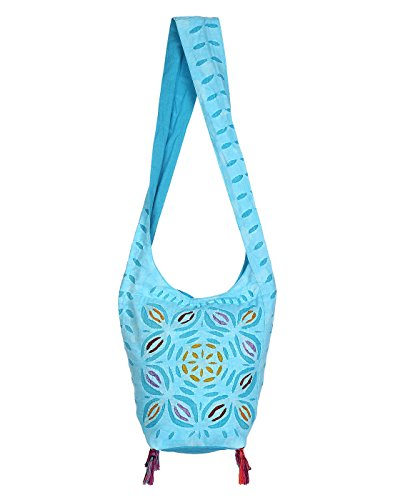 Rajasthani jaipuri jhola bag blue sling bag for girls jhola bags rajasthani ethnic design embroidery Hand bag turquoise floral work for girl women Ladies by Rajrang  available at amazon for Rs.449
