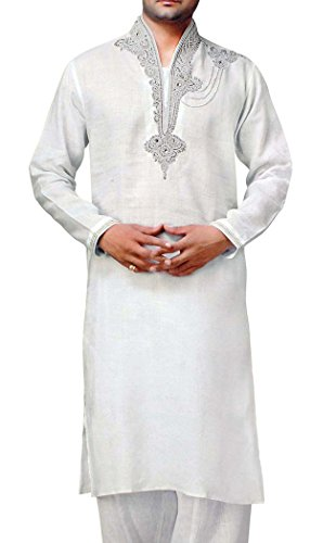 INMONARCH Mens weiße Bettwäsche Kurta Pyjama Hand Stickerei KP1520 (Stickerei Kurta)