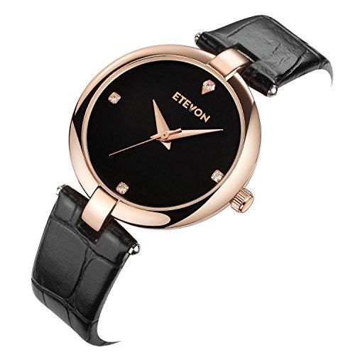 ETEVON Women's Casual Crystal Quartz Leather Watch mit schwarzem Zifferblatt und Rose Gold Edelstahl Case, einfach Kleid Handgelenk Uhren für Frauen Ladies - 4