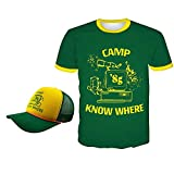 nisake Dustin Stranger Things Camicia Camp Know Where 85 Maglietta Cappello Manica Corta Verde 3D Cosplay Anime Top Tunica