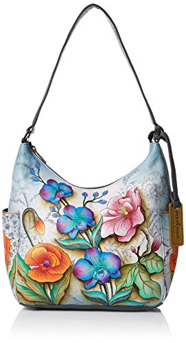 Anuschka 20% Frühlingsverkauf - handbemalte Ledertasche, Schultertasche für Damen, Geschenk für Frauen, handgefertigte Tasche - Hobo with side pockets (Floral Fantasy 382 FFY) (Floral-design-hobo)