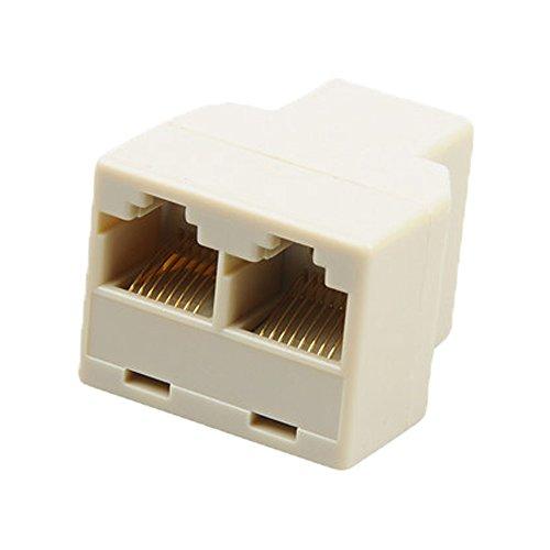 RotSale® 1x RJ45 Ethernetkabel Kupplung Netzwerk Internet Kabel LAN Y-Verteiler Verbinder Adapter Eingang zu 2 x 8 pol Ausgang