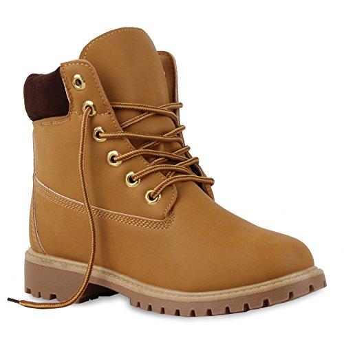 UNISEX Damen Herren Worker Boots Outdoor Schuhe Schnürstiefel Hellbraun Braun