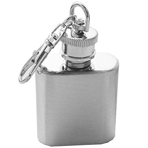 Sanwood 1Oz Mini Pocket Edelstahl Wein Flasche Whisky Flachmann Schraubdeckel (Mini Flachmann Schlüsselanhänger)