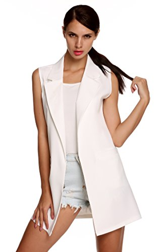 Meaneor Damen Lang Weste Ärmellos Jacke Dünn Mantel mit Taschen Reverskragen- Gr. EU 38(Herstellergröße: M), Weiß