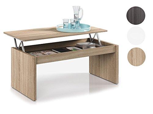 Habitdesign 001638F Table Basse Chêne naturel Avec Plateau Relevable