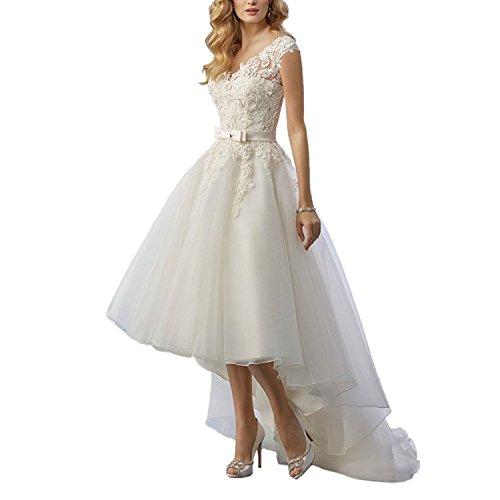 Vokuhila Hochzeitskleid rückenfrei mit Spitze
