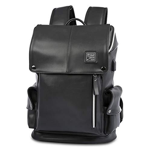Männer USB Lade 15In Laptop Rucksack Jungen Mode Tasche Männer Pu-Leder Rucksäcke Für Teenager Männer Casual Daypacks Männlichen Black