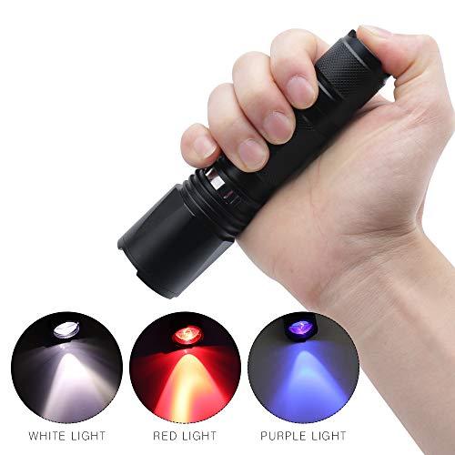 Boruit Zoomable 3 LED Blubs Weiß Rot UV Licht Taschenlampe Jagd Torch Lampe UV Ultraviolett Inspektion Schwarzlicht 3 Modi für Walking, Katze-Hund-Pet Urin-Detektor (keine Batterie)