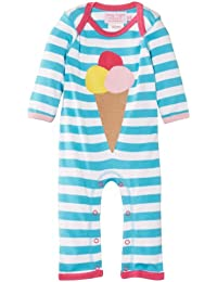 Toby Tiger Baby Girls Organic Ice Cream Sleepsuit Striped Bodysuit