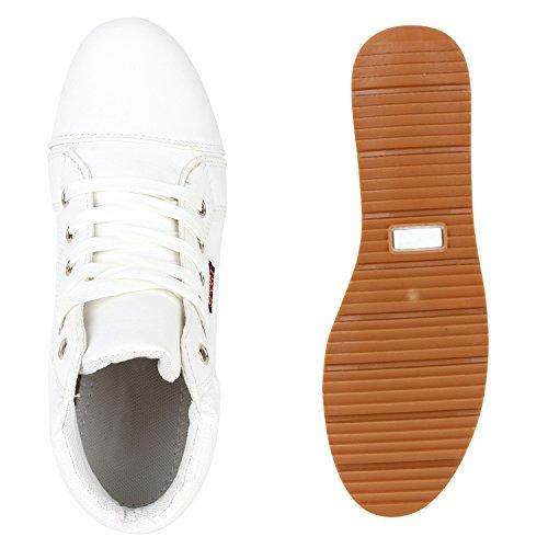 Damen Sneakers High Outdoor Schuhe Profilsohle Lederoptik Weiß