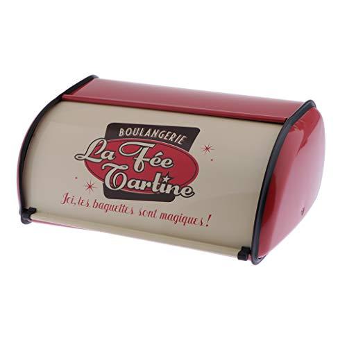 Caja de Pan para Almacenaje, Paneras para Guardar el Pan Estilo Retro, aprox. 34.5x23x14.5 cm - rojo