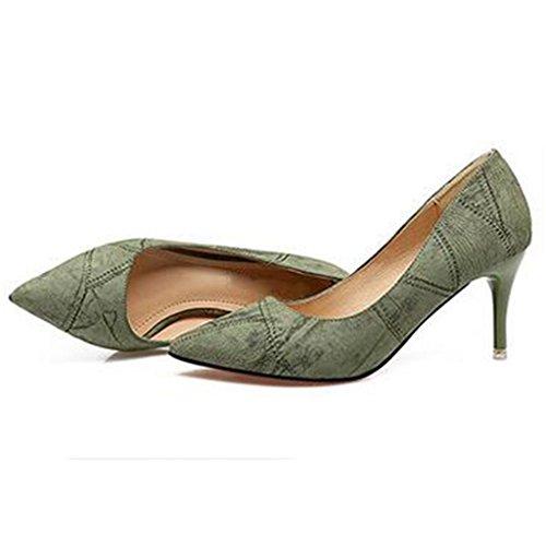 W&LM Signorina Tacchi alti Questo è buono Scarpa Bocca poco profonda Molto sottile Nel tallone Scarpe singole Scarpe casual Green