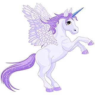 LightningSigns Purple Unicorn Pony Horse Cartoon Nursery Childs Bedroom Removable Vinyl Wall Art Sticker LSNur31 (Large Right)