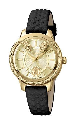 Roberto cavalli serpente serpente in pelle nera orologio RV1L050L0026