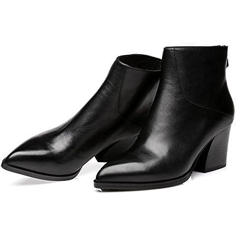 Ladies fashion casual caldo Martin classico a punta tacchi alti stivali di pelle (nero) , black , 34