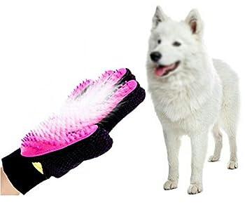 XINYUKEJI 1 paire Silicon Pet Gant de Toilettage Massage, Animal gant pour chat et chien doux et efficace Fourrure Brosse de bain épilateur Toilettage nettoyer Gants, Gant en caoutchouc Grooming (Rose (droite))