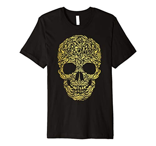 Floral Skull T-Shirt Blume Muster Skelett Kopf Knochen