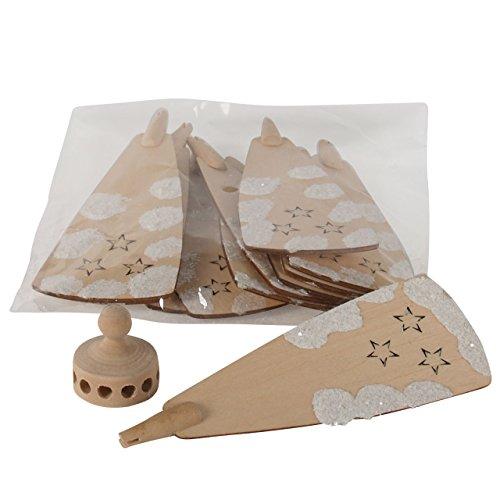 Weihnachts-Pyramiden-Rotor mit Flügel (mit Schnee), H: 127 mm x W: 47 mm, H: 30 mm x dia. 27 mm, natur / weiß, handbemalt im Erzgebirgestil