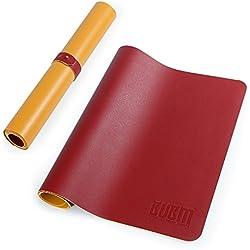 Mauspad, Gaming & Office Mauspad (800 x 400 x 2 mm Größe M) mit Band 2 in 1 waterproof Rutschfeste mouse pad doppelte Farbe wasserdicht PU Leder Matte für PC, Computer und Laptop - Rot Gelb