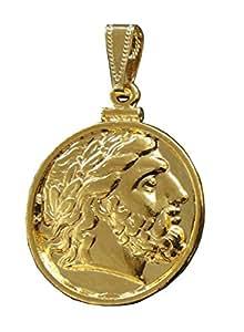 Pièce Pendentif Zeus Roi des Dieux Plaqué Or 24 carats