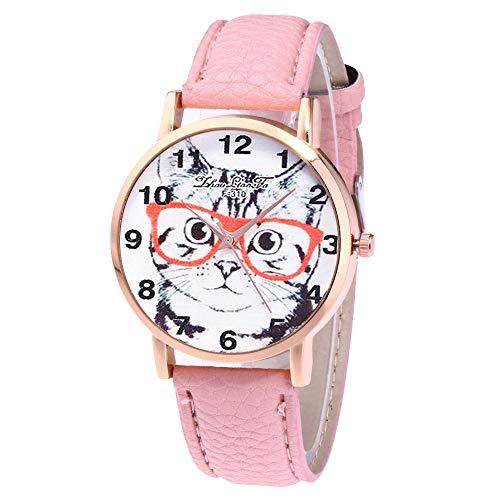 Lazzgirl Damenmode Casual Lederband Analoge Quarz-Uhr(Weiß, Minzgrün, Blau, Orange, Rot, Rosa, Schwarz, Gelb, Kaffee, Pink, Beige,One Size)