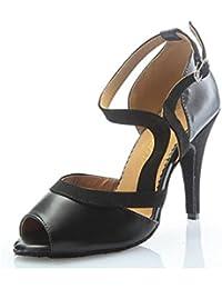 Onfly New Damen Latein Schuhe/Salsa Schuhe/Ballroom Schuhe Leder Sandale Ferse Tanzschuhe Party  Abend eu size