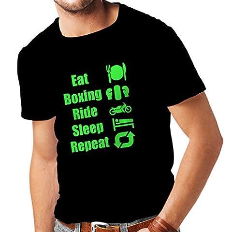 T-shirt pour hommes Eat Sleep Boxing Repeat - pour les combattants et les cavaliers (Medium Noir Verte)