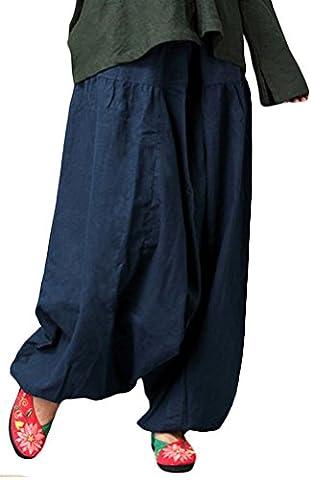 Voguees Women's Unisex Elastic Waist Linen Large Leg Pants