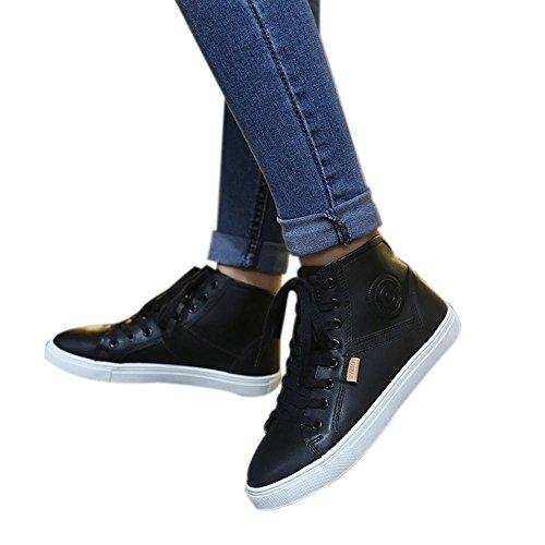 Clode® Mode-Fälle Schuh-flache Spitze Rund Hohe Schuhe Schwarz