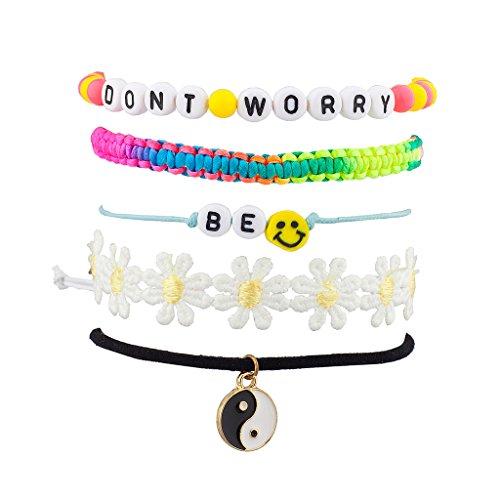 lux-zubehr-love-herz-perlen-blumen-woven-metall-kette-arm-candy-armband-set