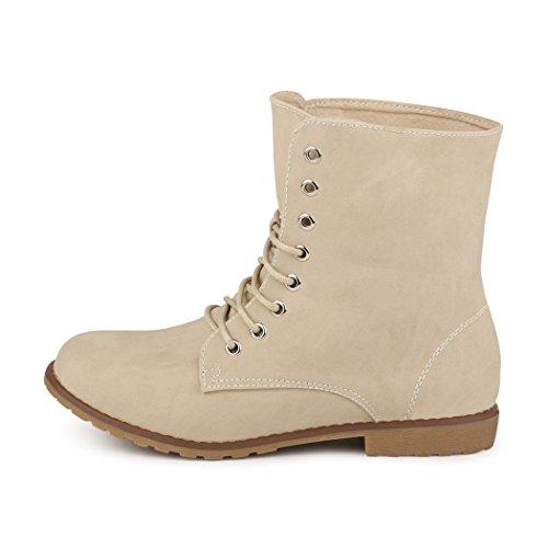 best-boots Damen Stiefelette Boots Worker Stiefel NEU: Beige (fällt kleiner  aus) ...