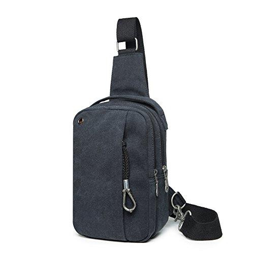 Herren Umhängetaschen Schultertaschen Brusttaschen Sporttasche für Outdoor Tactical (Schwarz)