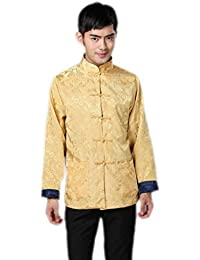 JTC Mens Classic Tai Chi Top Kung Fu Jacket Chinese Shirt Tunic Yellow&Navy