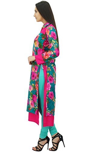 Bimba Exklusiver Indischer Ethnischer Winter Kurti Pashmina Blend Blumen Kurta Mehrfarben