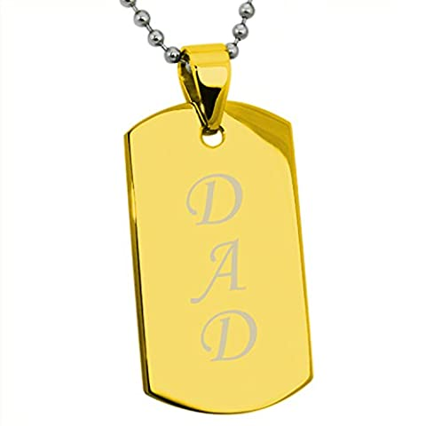 Gold Plated Stainless Steel DAD Engraved Dog Tag