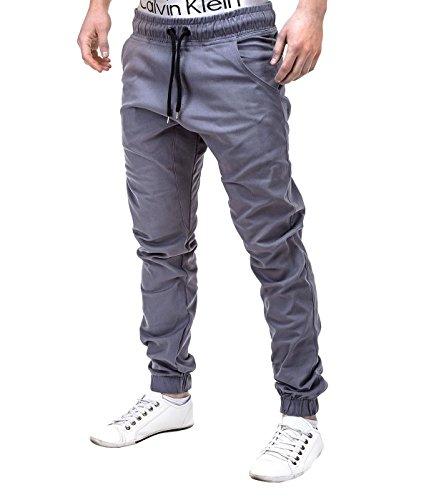 BetterStylz MasonBZ Chino Jogger Jogginghose Harem Style Jogger Slim Fit Stoffhose Gummibund 25 Farben (XS-5XL) (4XL, Grau) (Calvin Klein-loose-fit-jeans)